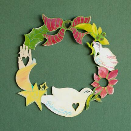 PEACE, LOVE AND JOY HOLIDAY WREATH