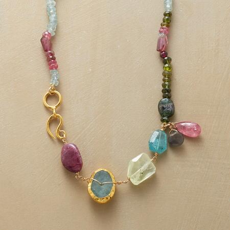 Shining in gently lovely hues, this handmade gemstone necklace is utterly gorgeous.