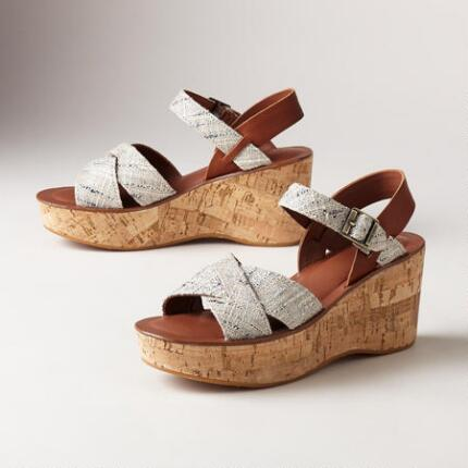 AVA WEDGE TWEED SANDALS