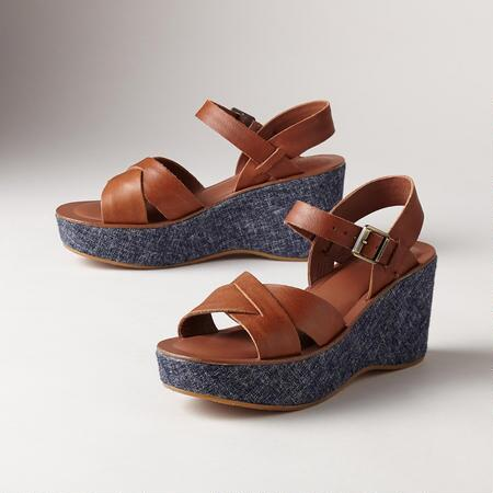 AVA WEDGE DENIM SANDALS
