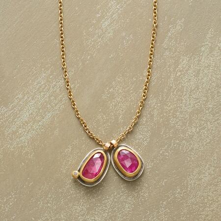 With vibrancy beyond compare, this double ruby diamond necklace simply stuns.