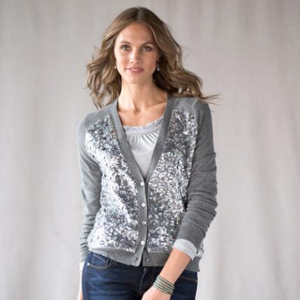SEQUIN FRONT SWEATER