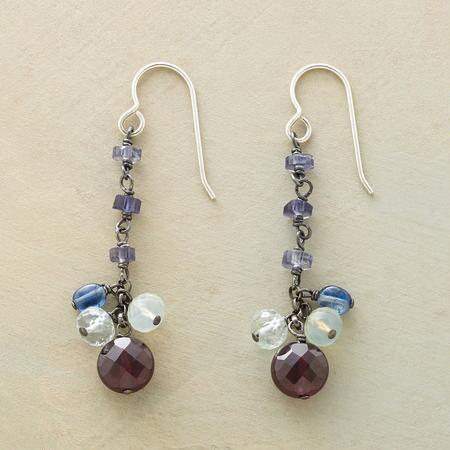 This pair of Jes MaHarry dangling garnet earrings sparkles in a symphony of color.
