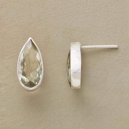 A pair of green amethyst silver stud earrings that lends a gentle glitter to your ensemble.