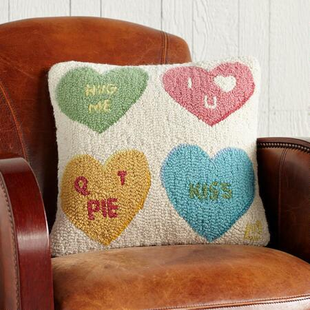 CANDY HEARTS HOOKED PILLOW
