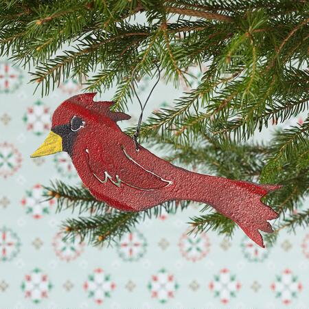 TIN ROOF CARDINAL ORNAMENT