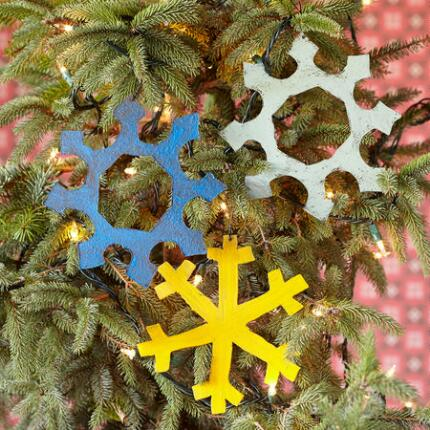 STEEL SNOWFLAKE ORNAMENTS, SET OF 3