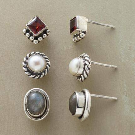 A gemstone and silver stud earrings set that provides a trio of admirable everyday options.