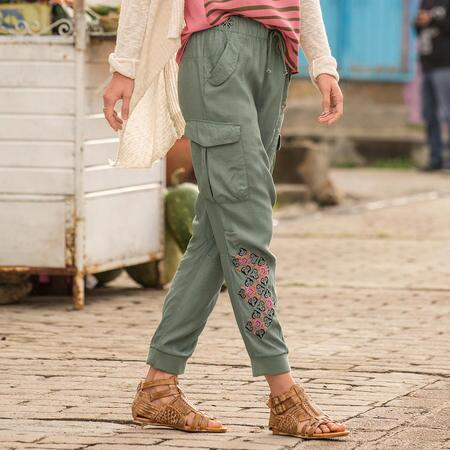 Softest Embroidered Cargo Pants