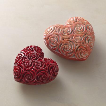 ROSE HEART PAPERWEIGHTS, SET OF 2