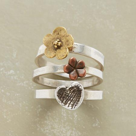 PETALS AND METALS RING TRIO S/3