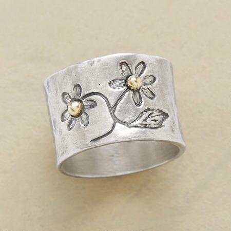Wear the blooming spirit of spring itself with this gold bead flower ring.