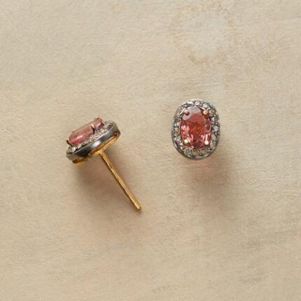 These stunning pink tourmaline and diamond stud earrings are unsurpassed in sparkle.