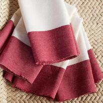 RED BORDER NAPKINS, SET OF 4