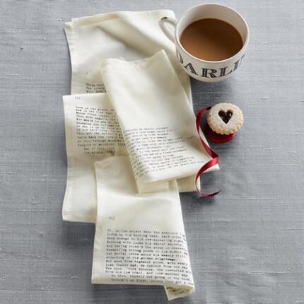 FOURTEEN LINES OF LOVE NAPKINS, SET OF 4
