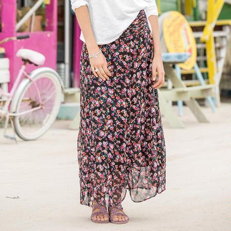 GATHERED ROSES SKIRT PETITE