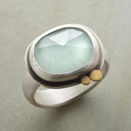 ROSE-CUT AQUAMARINE RING