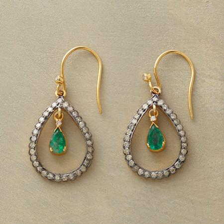 DRIPPING EMERALD EARRINGS