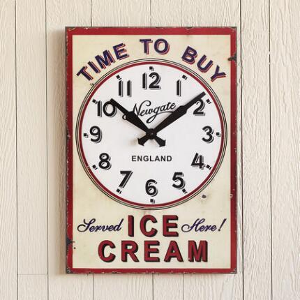 TIME TO BUY ICE CREAM CLOCK