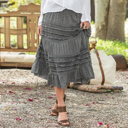 REMINISCENCE RUFFLED SKIRT