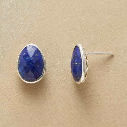 LATTICED LAPIS EARRINGS