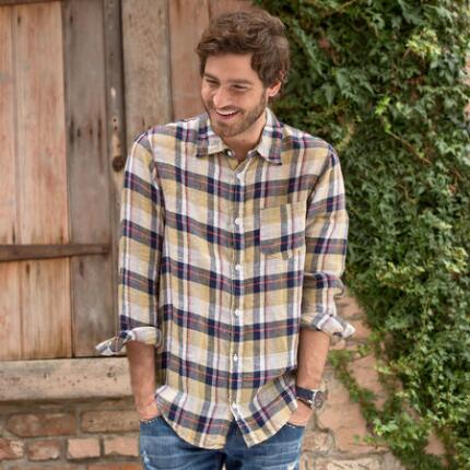 SUMMER PLAID YELLOW SHIRT