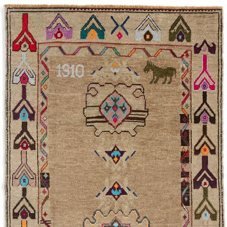 1910 MUSTANG KNOTTED RUG, LARGE