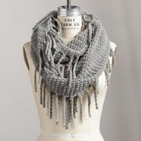 LOFTY FRINGED LOOP SCARF