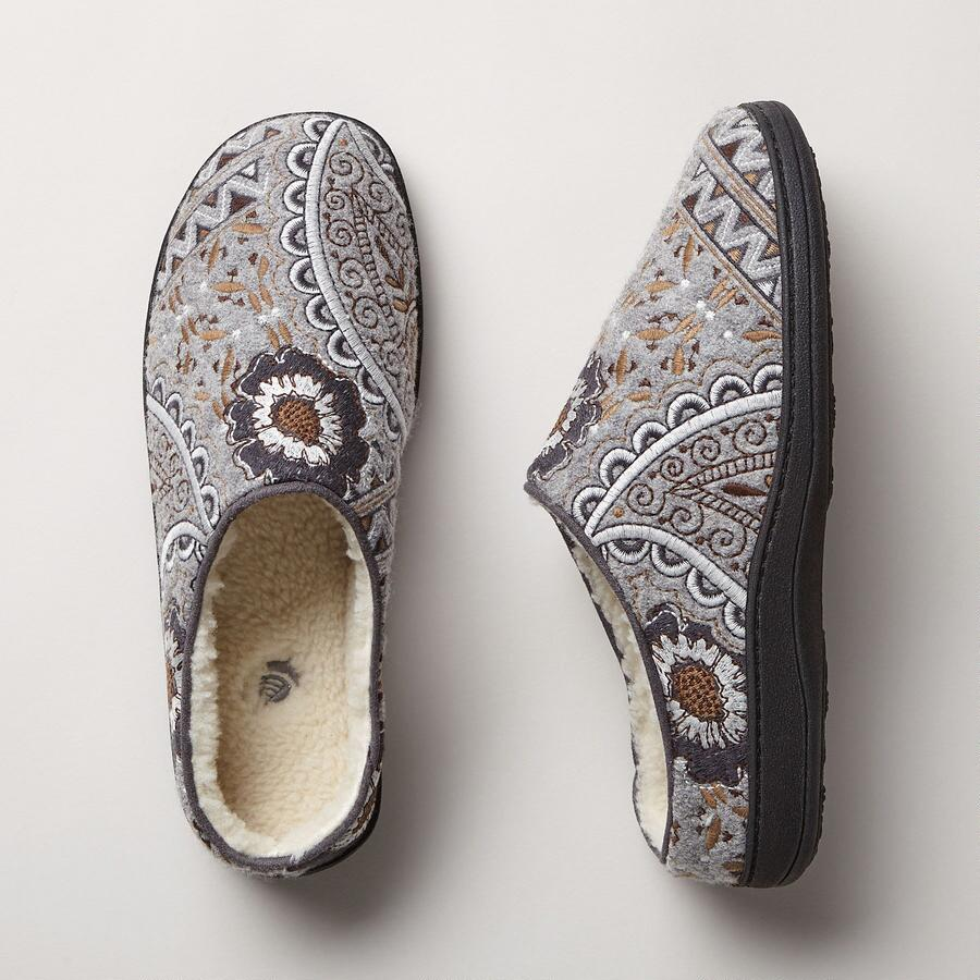 Fleecy Floral Mules