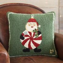 PEPPERMINT SANTA HOOKED PILLOW