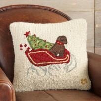 SOPHIE'S SLEIGH HOOKED PILLOW