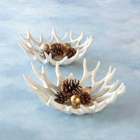 EARTHENWARE ANTLER BOWLS, SET OF 2
