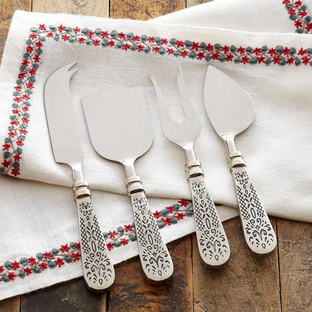 FLEUR DE LYS MEAT AND CHEESE SERVING SET, SET OF 4