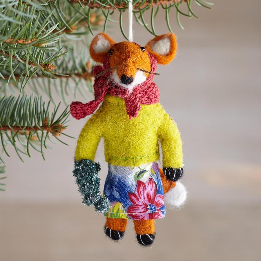 GLEEFUL FESTIVE FOX ORNAMENT
