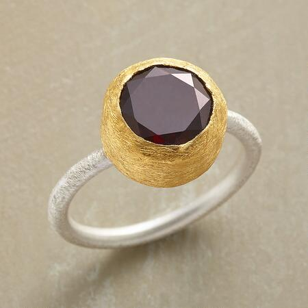 TWO METAL GARNET RING