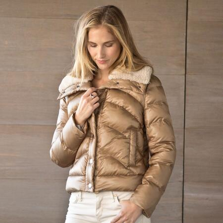 QUILTED JACKET WITH SHERPA COLLAR