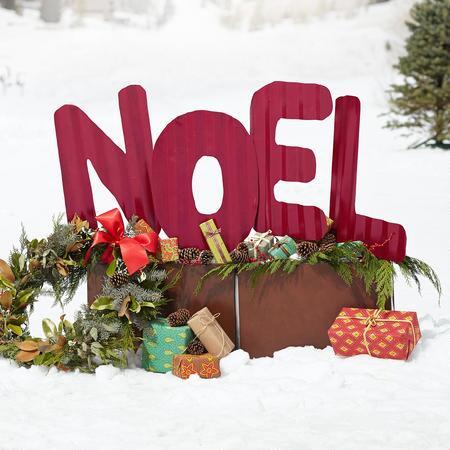 NOEL YARD ART AND RUSTIC PLANTERS, SET OF 3