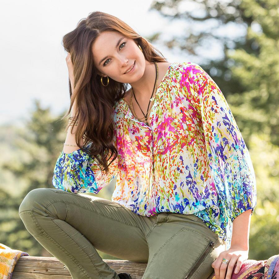 IMPRESSIONIST BLOOMS PASHA BLOUSE