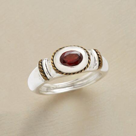 ENSCONCED GARNET RING