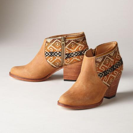 TAPESTRY ZIPPERED BOOTIES
