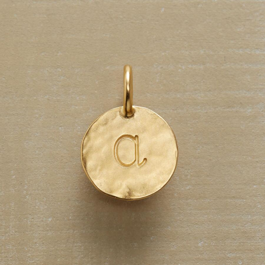 GOLD HAMMERED INITIAL CHARM