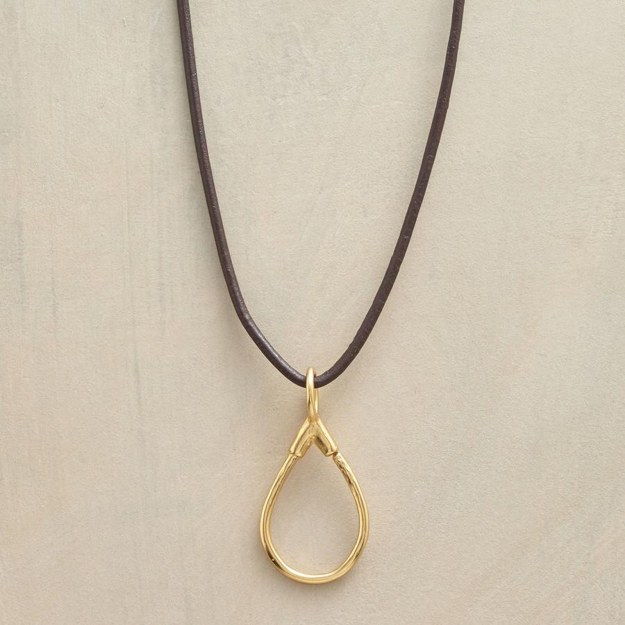 GOLD LEATHER CHARMHOLDER NECKLACE