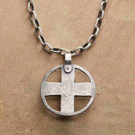 STERLING CROSS MEDALLION NECKLACE