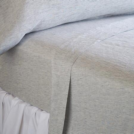 EMERITUS LINEN PINSTRIPE SHEET SET