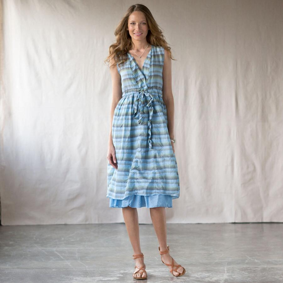 JULIA DRESS OVERDYED PLAID MARINE