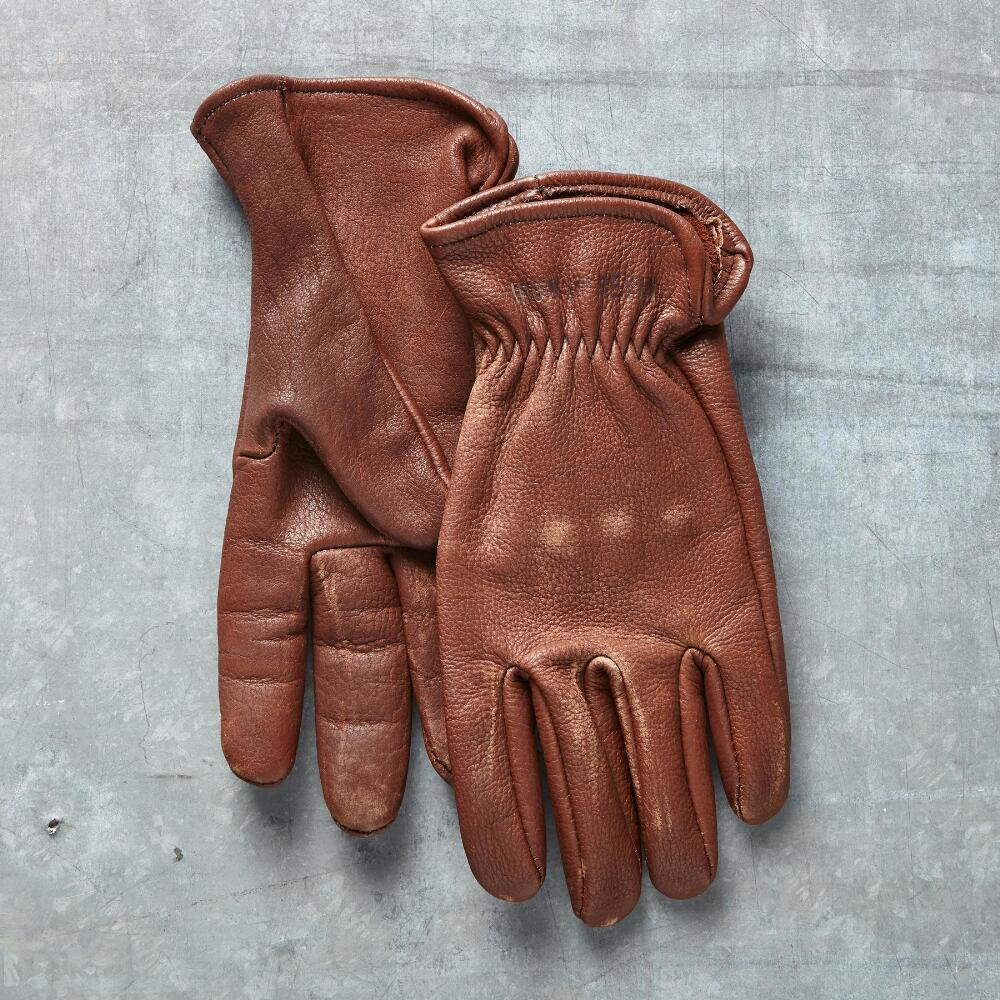 Black leather gloves buttons - Anchor Gloves