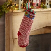HEIRLOOM CANDY CANE STRIPES STOCKING