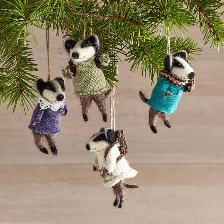 BEVY OF BADGERS ORNAMENTS, SET OF 4