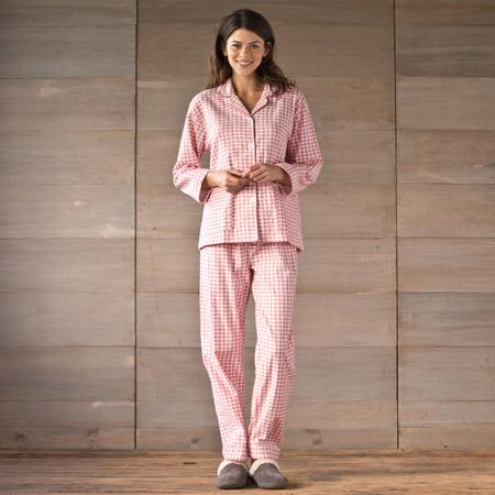 GINGHAM PRINTED FLANNEL PJ SET