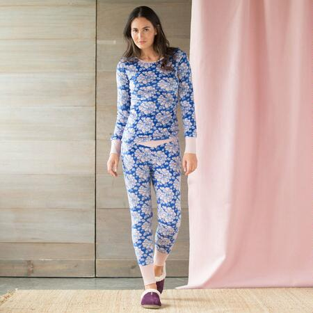 WALLPAPER FLORAL MINKY FLEECE PJ SET
